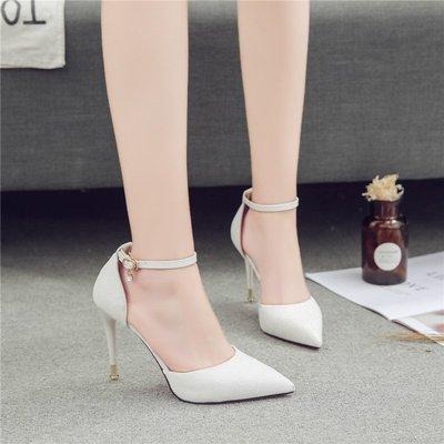 歐美時尚一字扣白色細跟高跟鞋10cm淺口尖頭女單鞋百搭包頭涼鞋