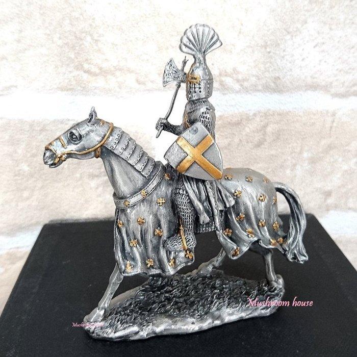 點點蘑菇屋{合金騎士擺飾}合金中古騎士(七)~十字軍右手拿斧頭 鐵甲武士 歐洲中古世紀羅馬 盔甲武士 現貨