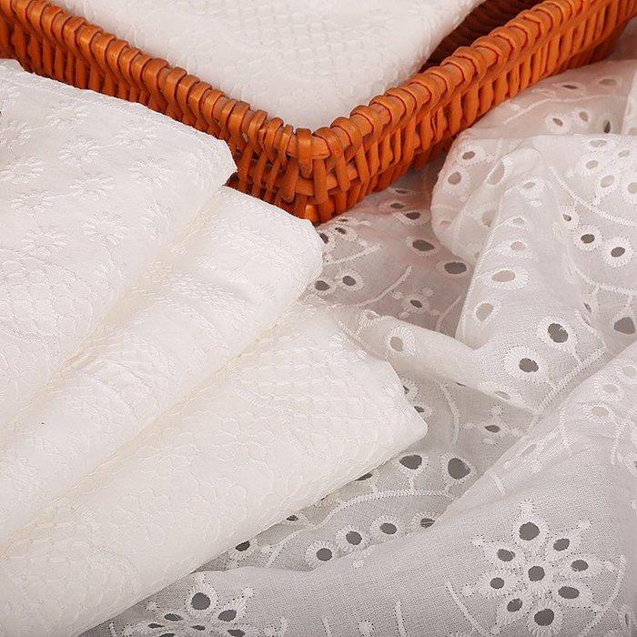 爆款--純棉鏤空蕾絲布料 服裝面料白色繡花花布夏季連衣裙上衣 棉布布料#布料#綢緞#冰絲#絨布
