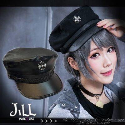 Oo吉兒oO日系接頭搖滾輕龐克 鐵血海軍毛呢皮帶拼接徽章軍帽 PUNK【J1D6006】