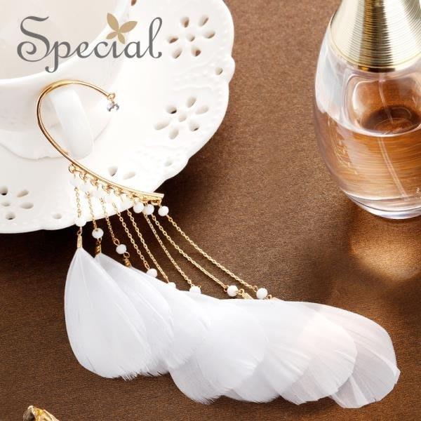 Special歐美羽毛流蘇耳飾女潮耳環個性氣質單只無耳洞耳掛精靈季
