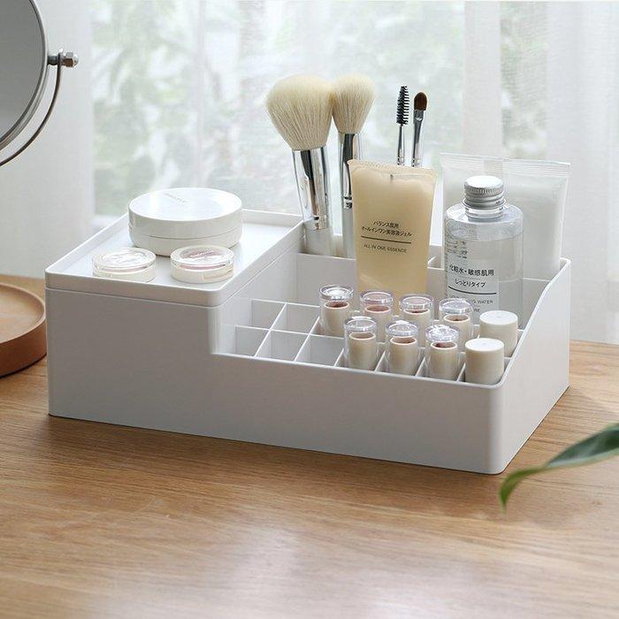 【免運費】化妝品收納盒懶角落帶托盤分格家用口紅護膚品刷桌面整理盒QD3C-Y351