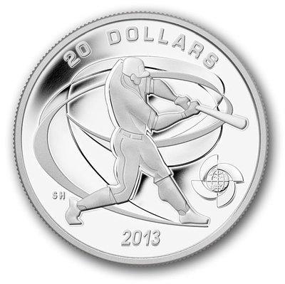 加拿大 紀念幣 2013 棒球紀念銀幣系列-打擊手(Hitter) 原廠原盒