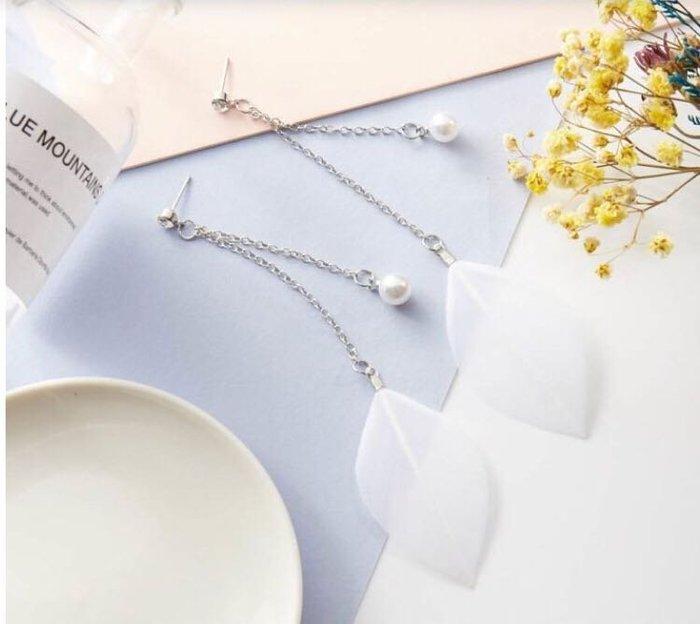 韓款白珍珠羽毛垂墜式耳環