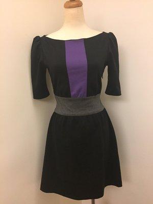 IMPERIAL 佯裝 洋裝 七分袖洋裝 跳色洋裝 三色拼接洋裝  義大利製 黑色洋裝 衣服 S號