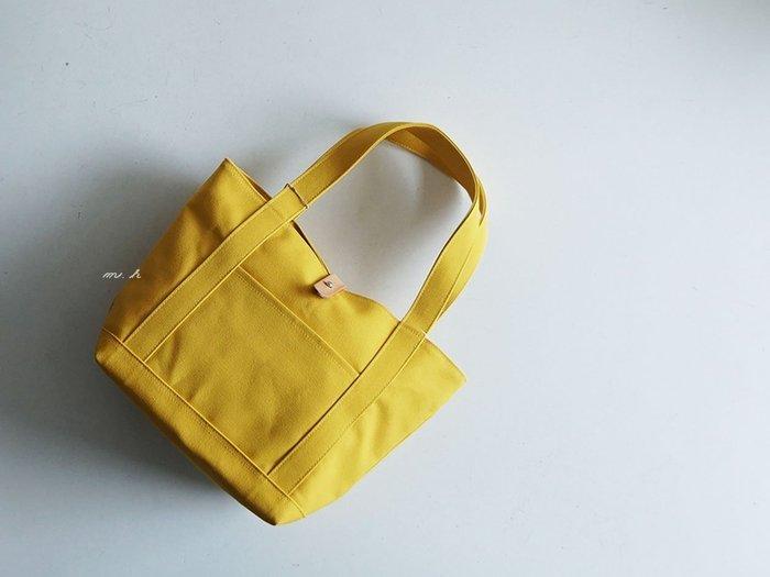 REAL STANDARD 日本製 堅挺 檸檬黃 手提 肩背 兩用 帆布袋