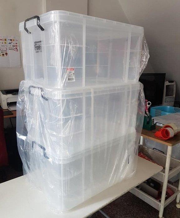 小毛收納館『KEYWAY K036強固型掀蓋整理箱3入』免運 含運開發票 聯府 置物箱 透明 寵物改造箱 黃金鼠 65L