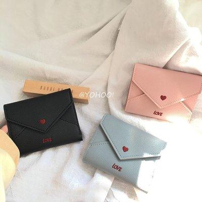 韓國可愛粉色少女心愛心短款多功能按扣式PU零錢包卡包