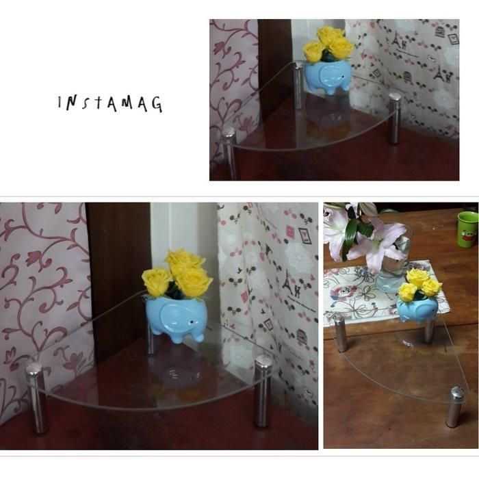 【ikloo】玻璃角落電話架/置物架/玻璃架/置物架/桌上置物架/多用途展示架/模型展示架