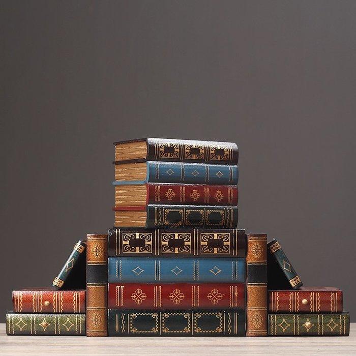 〖洋碼頭〗北歐復古木質裝飾假書首飾盒仿真書籍收納盒陳列道具創意擺件道具 hbs269
