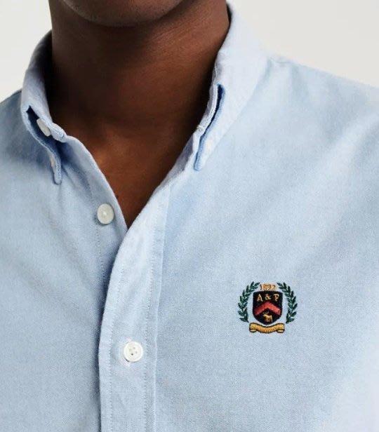 AF Abercrombie&Fitch 徽章小麋鹿 牛津襯衫 長袖  襯衫 藍色