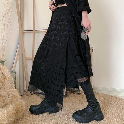 CHIC U 黑色暗紋開叉蕾絲裙不規則半身裙輕柔飄逸長裙-UP