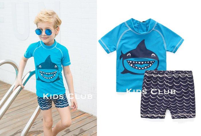 【Kids Club】4/20 英國品牌寶寶嬰兒兒童夏季鯊魚海浪防曬防寒上衣短泳褲游泳衣泳裝-兩件組