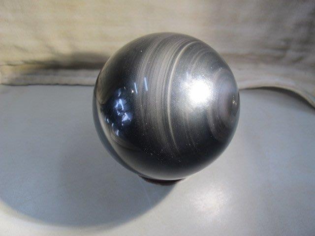 二手舖 NO.3127 天然玉石 瑪瑙天眼水晶球 非黑曜石 居家擺件
