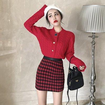套裝 兩件套 中長款 連身裙 洋裝小香風修身針織開衫厚實麻花毛衣外套+毛呢高腰包臀裙套裝女