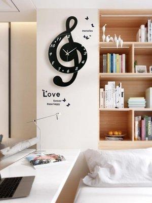 店長嚴選創意音符時尚個性裝飾掛鐘現代簡約客廳時鐘歐式臥室藝術靜音鐘錶