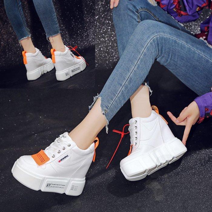 厚底鞋 內增高 楔型鞋 運動鞋 小個子必備 秋季原宿內增高幫鞋女皮面韓版百搭坡跟運動鞋嘻哈小白鞋