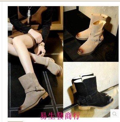 【易生發商行】年歐美風切爾西靴女靴套腳平跟平底圓頭全皮打蠟磨砂女F5953