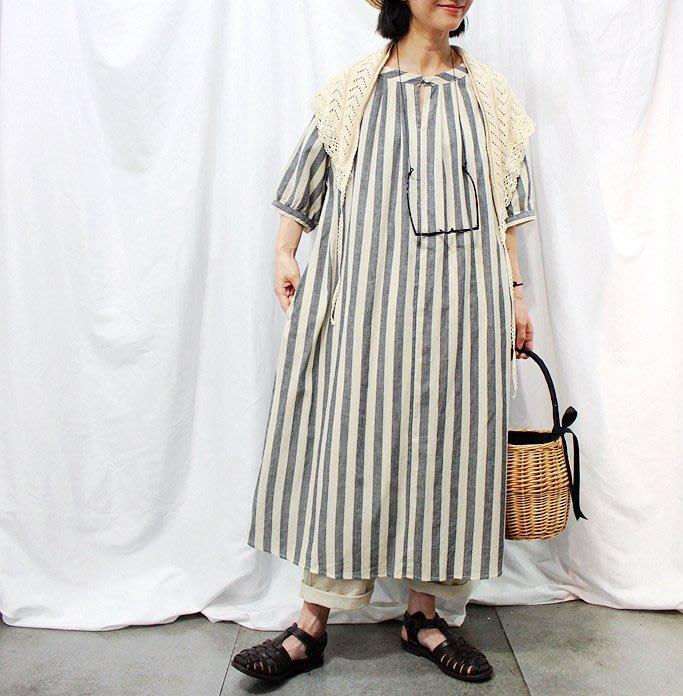 SeyeS  {日本空運} 百搭自然風復古基本款oversize棉麻直條紋長版寬洋裝