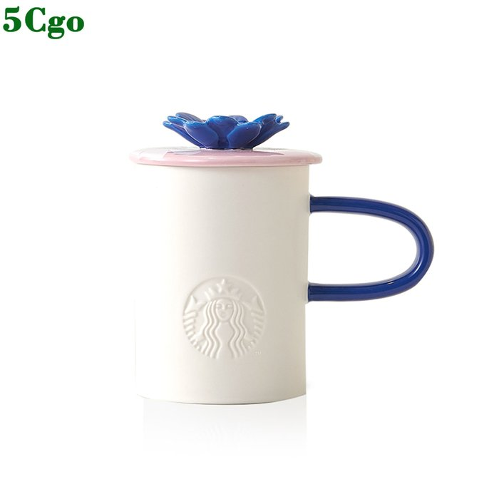 5Cgo【含稅】414ml燦若夏花粉色款馬克杯 簡約帶蓋家用水杯公司家用另有黃色473ml t616610689275