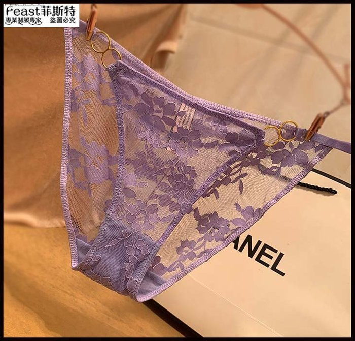 【Feast-菲斯特】-歐美性感蕾絲內褲 誘惑透明透視火辣低腰女士三角底褲 無痕刺繡AX32