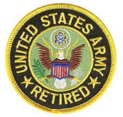 RayKae~刺繡臂章、燙貼布、熨燙徽章、刺繡燙布~美國陸軍U.S. ARMY RETIRED