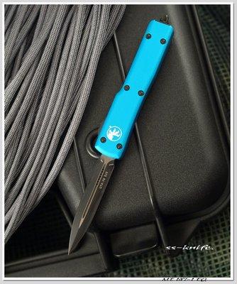 雙雄Microtech UTX70 D/E新款藍綠柄黑色平刃戰術刀(204P鋼) 型號:MT 147-1 TQ