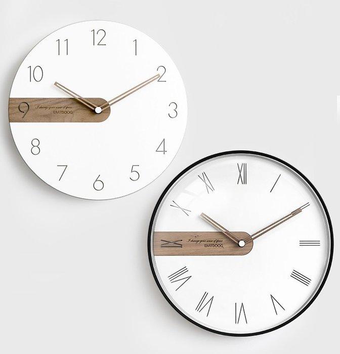 尼克卡樂斯~北歐風胡桃木指針掛鐘 圓形靜音時鐘 簡約風掛鐘 餐廳掛鐘 咖啡廳時鐘 客廳掛鐘 咖啡廳時鐘 工業風鄉村風掛鐘