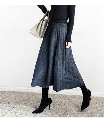 版型超美顯瘦百褶裙過膝裙長裙