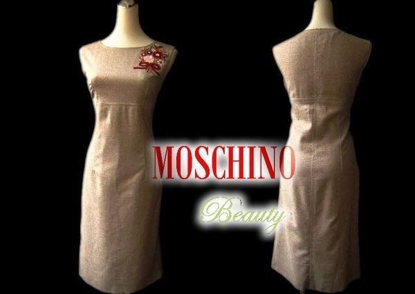 *Beauty*MOSCHINO 義大利製 主線 卡其色毛料繡花無袖背心洋裝