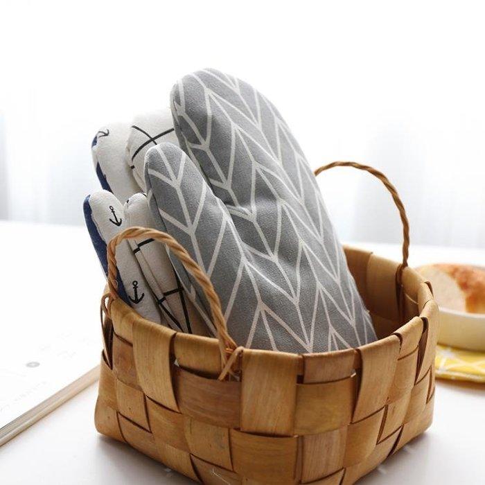 棉麻加厚隔熱手套微波爐耐熱 高溫烘焙烤箱專用手套單只裝