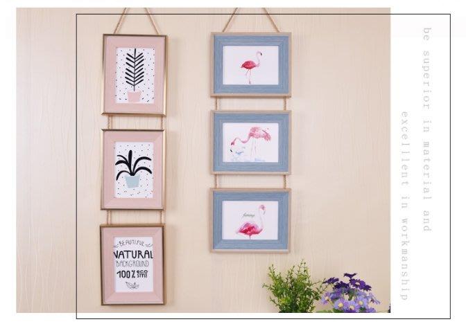 『特價$350』歐式簡約三聯相框 復古麻繩掛式組合相框 照片牆 玻璃木質相框 4x6相框