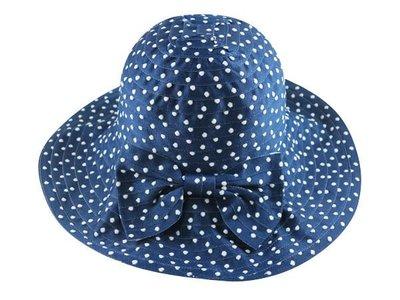 ☆二鹿帽飾☆ 夏日必備~大帽沿水玉點點設計布帽-可互摺收納型帽 漁夫帽 遮陽帽-深藍