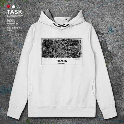 TASK 津門天津Tianjin中國風城市地圖印花連帽衛衣男女外套帽衫潮
