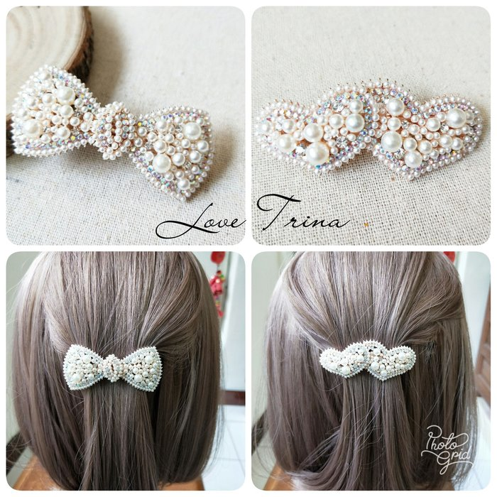 【Love Trina】9113-0408 優雅珍珠亮鑽蝴蝶結金屬造型彈夾(6ᑕᗰ)。自動夾。髮夾 -(2款)~