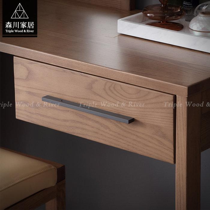 《森川家居》NBM-60BM01-北歐設計方鏡妝台 臥室房間民宿妝凳/收納櫃設計/日式原木LOFT品東西IKEA