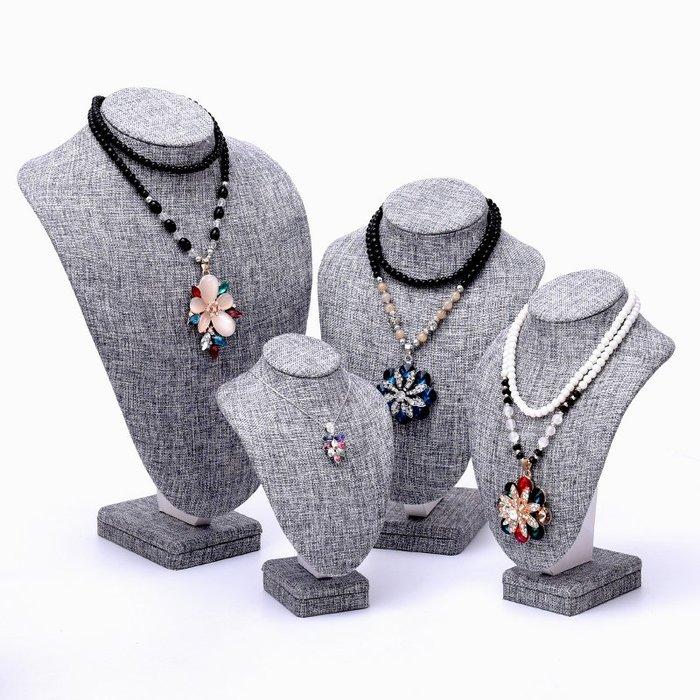 聚吉小屋 #麻布項鏈架人像脖子首飾項鏈展示架頸模特吊墜珠寶飾品道具飾品架