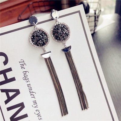✻美人魚的秘密✻MS耳環-7504 韓國東大門 925銀針 垂墜感 優雅長款 金屬 流蘇 長耳環 鑲水鑽 閃亮鋯石