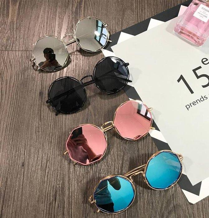 復古金屬鏤空圓形墨鏡粉色原宿大框圓臉潮反光 JA2046