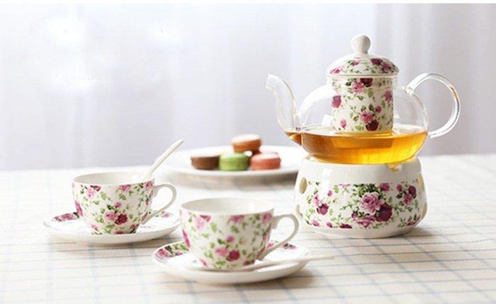 ~蘇菲亞精品傢飾~下午茶系列嬌豔玫瑰組一壺二杯二盤禮盒組