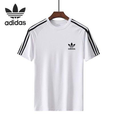 愛迪達 三葉草 adidas  冰絲速乾跑步服 短袖T恤 韓版男女上衣 透氣速乾 健身籃球足球運動服 非polo衫