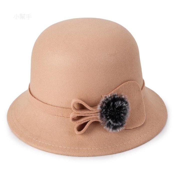 毛球小禮帽秋冬季毛呢帽子復古時尚女士禮帽韓版毛呢盆帽(優品小舖)