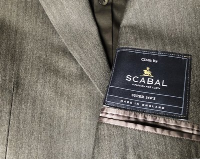 原價連工帶料十二萬多 世界頂級面料品牌 Scabal super 140 淺鐵灰單排釦西裝上衣