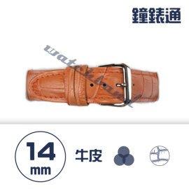 【鐘錶通】C1.05KW《繽紛系列》鱷魚壓紋-14mm 橙橘┝手錶錶帶/高質感/牛皮錶帶┥