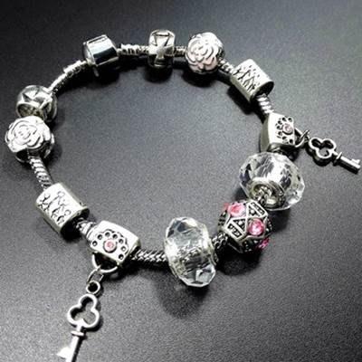 手鍊 串珠手環-水晶飾品可愛鑰匙吊墜歐美時尚女配件73bo35[獨家進口][巴黎精品]