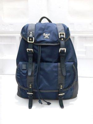 Salad 專櫃 藍色 尼龍 拼接牛皮 裝飾 大容量 後背包