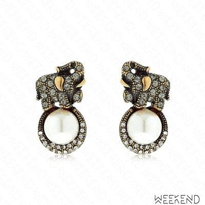 【WEEKEND】 ALCOZER & J. Elsa 大象 鑲鑽 珍珠 鍍金 耳環 金色