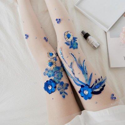長統襪 長襪 及膝襪 船襪 絲襪 手工藍色刺繡連褲襪夏季超薄透肉防勾絲襪日系甜美繡花燙鉆打底襪