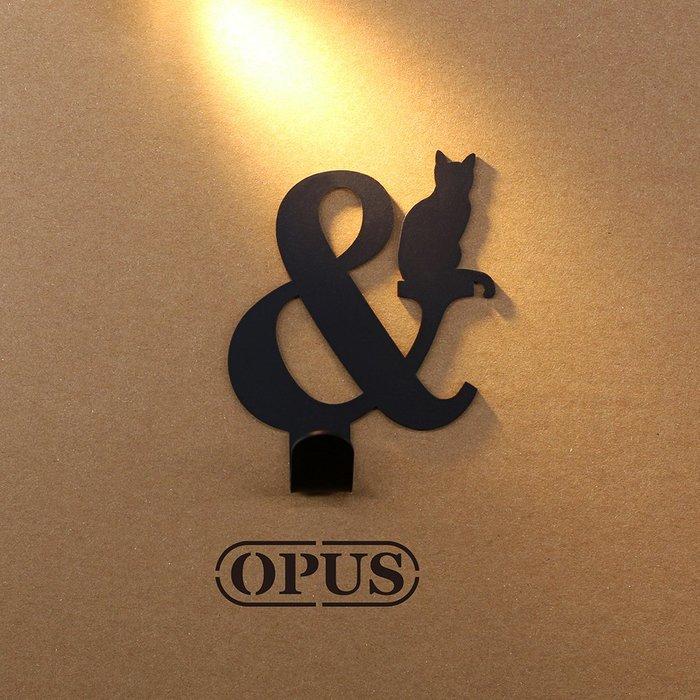 當貓咪遇上符號and《經典黑》壁飾掛勾 造型無痕掛鉤 居家收納 牆面壁掛【OPUS東齊金工】HO-nb12-and(B)