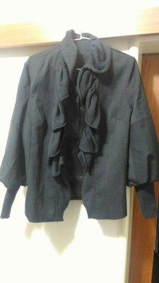 西裝布料袖領口毛料 鐵灰色外套 46號約L-XL  size